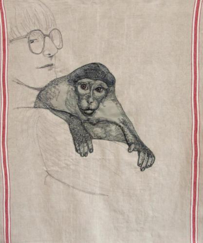 Rina Reussien met aap